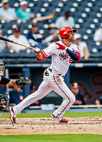 27 February 2019: Washington Nationals outfielder Juan Soto connects during a pre-season game against the Houston Astros at the Ballpark of the Palm Beaches in West Palm Beach, Florida. The Nationals defeated the Astros 14-8 in their Spring Training Grapefruit League matchup. Mandatory Credit: Ed Wolfstein Photo *** RAW (NEF) Image File Available ***