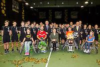 Rotterdam, The Netherlands, February 13, 2016,  ABNAMROWTT, Gordon Reid (GBR), Stefan Olsson (SWE), Esther Vergeer (NED)<br /> Photo: Tennisimages/Henk Koster