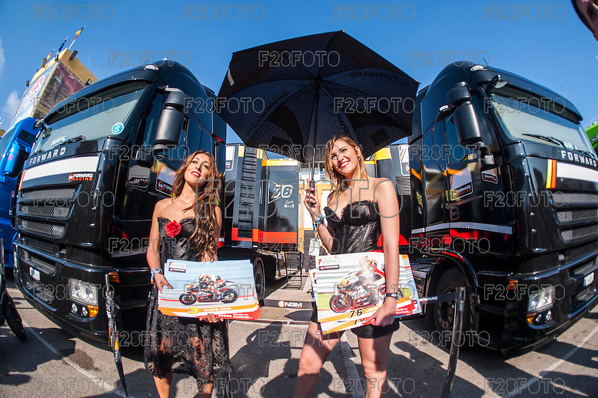 VALENCIA, SPAIN - NOVEMBER 8: Forward paddok girls  during Valencia MotoGP 2015 at Ricardo Tormo Circuit on November 8, 2015 in Valencia, Spain