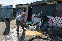 Calais 8-4-16 Scene in the Jungle Camp populated by refugees and migrants hoping to get to Britain.