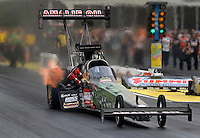 May 10, 2013; Commerce, GA, USA: NHRA top fuel dragster driver Terry McMillen during qualifying for the Southern Nationals at Atlanta Dragway. Mandatory Credit: Mark J. Rebilas-