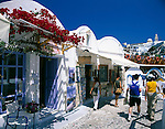 Greece; Cyclades; Santorini; Fira (Thira): lane with restaurant, gallery and souvenirshop