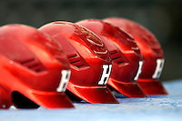 21 April 2007: University of Hartford Hawks' batting helmets lie on the dugout roof during a double-header against the University of Vermont Catamounts at Historic Centennial Field, in Burlington, Vermont...Mandatory Photo Credit: Ed Wolfstein Photo