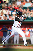 Lansing Lugnuts outfielder D.J. Davis (8) at bat during a game against the Peoria Chiefs on June 6, 2015 at Cooley Law School Stadium in Lansing, Michigan.  Lansing defeated Peoria 6-2.  (Mike Janes/Four Seam Images)