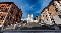 A view of deserted Spanish Steps below the Trinita dei Monti church during Italy's lockdown due to Covid-19 pandemic. <br /> On May 4th will start the phase 2 of the measures against pandemic, adopted by Italian government, that will allow some construction and factory workers to go back to work . <br /> Rome 30/04/2020 <br /> Photo Andrea Staccioli Insidefoto