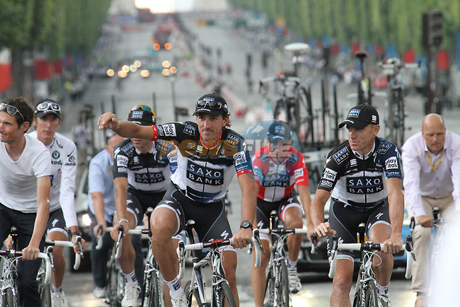 Fabian Cancellara (SUI) Stuart O'Grady (AUS) and Saxo Bank part of the team parade at the end of the final Stage 20 of the 2010 Tour de France running 102.5km from Longjumeau to Paris Champs-Elysees, France. 25th July 2010.<br /> (Photo by Eoin Clarke/NEWSFILE).<br /> All photos usage must carry mandatory copyright credit (© NEWSFILE | Eoin Clarke)