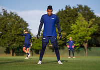 KASHIMA, JAPAN - AUGUST 1: Adrianna Franch #18 of the USWNT gets set during a training session at the practice field on August 1, 2021 in Kashima, Japan.