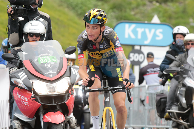 Sepp Kuss (USA) Jumbo-Visma 6th on the final climb of Luz-Ardiden during Stage 18 of the 2021 Tour de France, running 129.7km from Pau to Luz-Ardiden, France. 15th July 2021.  <br /> Picture: Colin Flockton | Cyclefile<br /> <br /> All photos usage must carry mandatory copyright credit (© Cyclefile | Colin Flockton)