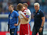 12.05.2018, Football 1. Bundesliga 2017/2018, 34.  match day, Hamburger SV - Borussia Moenchengladbach, Volksparkstadium Hamburg. 1. Abstieg des HSV, Goutoku Sakai (Hamburg) dejected  *** Local Caption *** © pixathlon<br /> <br /> +++ NED + SUI out !!! +++<br /> Contact: +49-40-22 63 02 60 , info@pixathlon.de