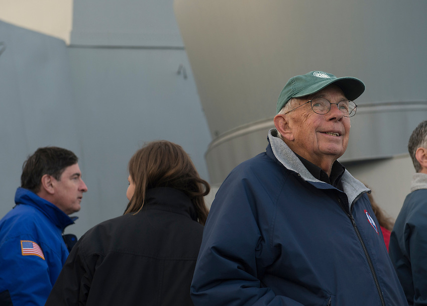 130430-N-DR144-766 COOK INLET, Alaska (April 30, 2013)- William J. Sheffield, the fifth governor of Alaska, takes in the view from the bridge wing aboard San Antonio-class amphibious transport dock ship USS Anchorage (LPD 23) as the ship approaches the coast of Alaska. Anchorage is currently en route to its namesake city of Anchorage, Alaska for its commissioning ceremony May 4. (U.S. Navy photo by Mass Communication Specialist 1st Class James R. Evans / RELEASED)
