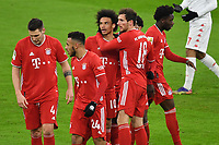 3rd January 2021, Allianz Arean, Munich Germany; Bundesliga Football, Bayern Munich versus FSV Mainz;  Leroy Sane celebrates his goal for 2:2 with Leon Goretzka, David Alaba, Alphonso Davies