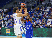 30th September 2021; Madrid, Spain:  Euroleague Basketball, Real Madrid versus Anadolu Efes Istanbul;  Sergio Llull of team Real Madrid is challenged by Rodrigue Beaubois of team Anadolu Efes and during the Matchday 1 between Real Madrid and Anadolu Efes Istanbul