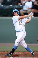 Pat Valaika #10 of the UCLA Bruins bats against the Oregon State Beavers at Jackie Robinson Stadium in Los Angeles,California on April 29, 2011. Photo by Larry Goren/Four Seam Images
