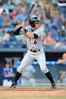Delmarva Shorebirds shortstop Jeff Kemp #4 awaits a pitch during opening night game against the Asheville Tourists at McCormick Field on April 3, 2014 in Asheville, North Carolina. The Tourists defeated the Shorebirds 8-3. (Tony Farlow/Four Seam Images)