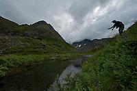 Erek casts for Arctic Grayling in Alaska.