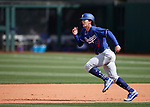 James Outman runs the bases during a spring training game between the Texas Rangers and Los Angeles Dodgers in Surprise, Ariz., on Sunday, March 7, 2021.<br /> Photo by Cathleen Allison
