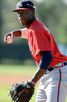 Pitcher Tyrell Jenkins (9) of the Atlanta Braves farm system in a Minor League Spring Training workout on Tuesday, March 17, 2015, at the ESPN Wide World of Sports Complex in Lake Buena Vista, Florida. (Tom Priddy/Four Seam Images)