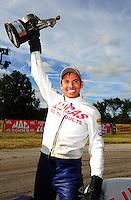 Sept. 5, 2011; Claremont, IN, USA: NHRA pro stock motorcycle rider Hector Arana Jr. celebrates after winning the US Nationals at Lucas Oil Raceway. Mandatory Credit: Mark J. Rebilas-