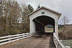 Mohawk Covered Bridge, Circa 1938, overthe Mohawk River in Lane County Oregon.  Nearby Wendling and Marcola, Oregon.  (Earnest Covered Bridge)
