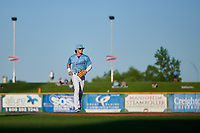 Omaha Storm Chasers shortstop Bobby Witt Jr. (7) jogs off the field between innings of a game against the Iowa Cubs on August 14, 2021 at Werner Park in Omaha, Nebraska. (Zachary Lucy/Four Seam Images)