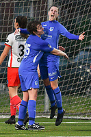 Gwen Duijsters (13) of KRC Genk celebrating her goal with her teammates pictured during a female soccer game between  Racing Genk Ladies and SV Zulte-Waregem on the 7 th matchday of play off 2 in the 2020 - 2021 season of Belgian Scooore Womens Super League , friday 14 th of May 2021  in Genk , Belgium . PHOTO SPORTPIX.BE   SPP   JILL DELSAUX