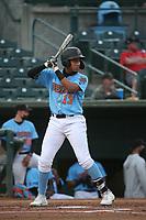 Jose Bonilla (13) of the Inland Empire 66ers bats against the Fresno Grizzlies at San Manuel Stadium on May 25, 2021 in San Bernardino, California. (Larry Goren/Four Seam Images)