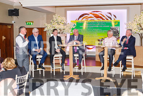 MC Tim Moynihan talking with John O'Dwyer, Padraig O'Se, Pat Spillane, Ger Power and Mikey Shehy at the Kerry Supporters Social in the Ballygarry House Hotel on Saturday