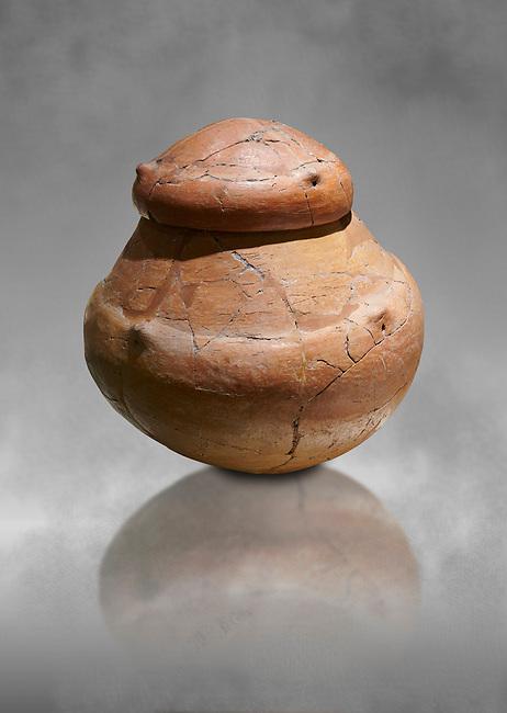 Terra cotta pot and lid from a Bronze Age Grave H (2500 BC - 2250 BC) -  Alacahoyuk - Museum of Anatolian Civilisations, Ankara, Turkey