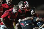 Munster front row Stephen Archer, Denis Fogarty and Marcus Horan..RaboDirect Pro12.Dragons v Munster.03.03.12.©STEVE POPE