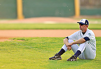 3 September 2008: Vermont Lake Monsters' catcher Ricky Nolan rests prior to a NY Penn-League game against the Tri-City Valley Cats at Centennial Field in Burlington, Vermont. The Lake Monsters defeated the Valley Cats 6-5 in extra innings. Mandatory Photo Credit: Ed Wolfstein Photo