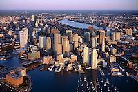 Boston harbor skyline, aerial view from 1200 ft,  Boston, MA (June, 2008)