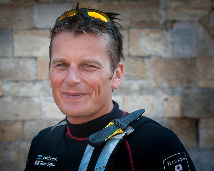 Dean Barker CEO/Skipper of SoftBank Team Japan outside Southsea castle, parts of which date back to the 16th century, during the Louis Vuitton America's Cup World Series in Portsmouth, England on Friday 22 July 2016 (Photo by Rob Munro/Stewart Communications)
