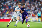 Giovanni Simeone (r) of ACF Fiorentina competes for the ball with Marcos Llorente of Real Madrid during the Santiago Bernabeu Trophy 2017 match between Real Madrid and ACF Fiorentina at the Santiago Bernabeu Stadium on 23 August 2017 in Madrid, Spain. Photo by Diego Gonzalez / Power Sport Images