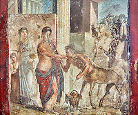 Roman fresco wall painting of Pirithous with Hippodamia at a wedding who revieving homage from a centaur, the wedding degenerated into a fight after centaurs kidnapped the Lapith women and Theseus had to intervene to calm the situation, Pompeii , inv 9044 , Naples National Archaeological Museum