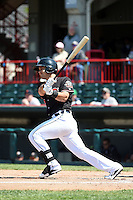 Erie SeaWolves shortstop Eugenio Suarez (27) at bat during a game against the Akron RubberDucks on May 18, 2014 at Jerry Uht Park in Erie, Pennsylvania.  Akron defeated Erie 2-1.  (Mike Janes/Four Seam Images)