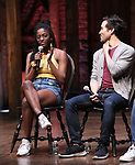 """Johanna Moise and Marc delaCruz during the Q & A before The Rockefeller Foundation and The Gilder Lehrman Institute of American History sponsored High School student #EduHam matinee performance of """"Hamilton"""" at the Richard Rodgers Theatre on 5/22/2019 in New York City."""