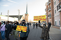 Protestors demonstrate on a March to Stop Police Brutality during the Derek Chauvin Trial on April 1, 2021 in Robbinsdale, Minnesota. <br /> CAP/MPI/IS/CT<br /> ©CT/IS/MPI/Capital Pictures