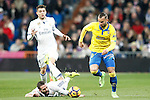 Real Madrid's Mateo Kovacic (l) and Daniel Carvajal (c) and UD Las Palmas' Jese Rodriguez during La Liga match. March 1,2017. (ALTERPHOTOS/Acero)