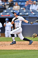 Asheville Tourists right fielder Hunter Stovall (1) swings at a pitch during a game against the Augusta GreenJackets at McCormick Field on April 7, 2019 in Asheville, North Carolina. The GreenJackets  defeated the Tourists 11-2. (Tony Farlow/Four Seam Images)