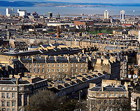 .The city of Edinburgh from Calton Hill, looking towards the districts of Granton and Leith, Edinburgh Scotland..