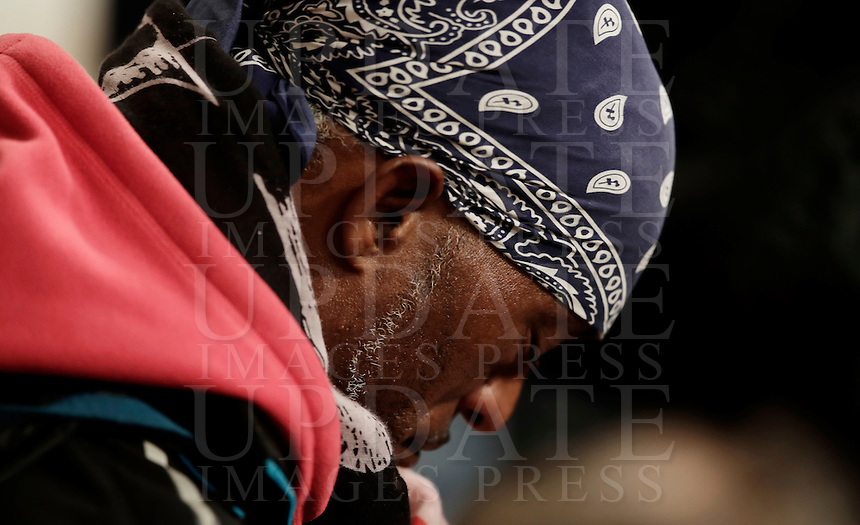 A man prays during a Jubilee Mass for homeless people celebrated by Pope Francis in Saint Peter's Basilica at the Vatican November 13, 2016.<br /> UPDATE IMAGES PRESS/Isabella Bonotto<br /> <br /> STRICTLY ONLY FOR EDITORIAL USE