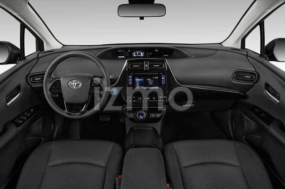 Stock photo of straight dashboard view of 2019 Toyota Prius LE 5 Door Hatchback Dashboard