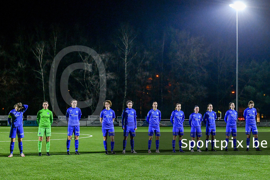 line-up team KRC Genk ( Sien Vandersanden (10) of KRC Genk , goalkeeper Joséphine Delvaux (1) of KRC Genk , Sterre Gielen (14) of KRC Genk , Lotte Van Den Steen (15) of KRC Genk , Lorene Martin (6) of KRC Genk , Fleur Bienkens (23) of KRC Genk , Luna Vanhoudt (43) of KRC Genk , Fleur Pauwels (66) of KRC Genk , Jorien Voets (20) of KRC Genk , Gwen Duijsters (13) of KRC Genk , Hanne Merkelbach (25) of KRC Genk  ) pictured during a female soccer game between  Racing Genk Ladies and Standard Femina on the 13 th matchday of the 2020 - 2021 season of Belgian Scooore Womens Super League , friday 5 th of february 2021  in Genk , Belgium . PHOTO SPORTPIX.BE | SPP | STIJN AUDOOREN