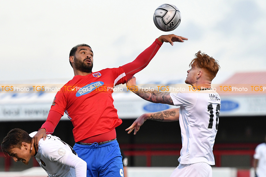 Paul McCallum of Dagenham and Redbridge FC hand ball during Dagenham & Redbridge vs Ebbsfleet United, Buildbase FA Trophy Football at the Chigwell Construction Stadium on 19th December 2020