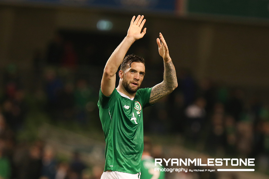 European Championship 2020<br /> Qualifying Round <br /> Rep of Ireland v Georgia<br /> Tuesday 26th March 2019,<br /> Aviva Stadium, Dublin.<br /> Shane Duffy of Republic of Ireland celebrates at the end of the game<br /> Mandatory Credit: Michael P Ryan