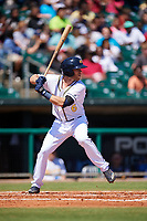 Montgomery Biscuits first baseman Grant Kay (6) at bat during a game against the Mississippi Braves on April 25, 2017 at Montgomery Riverwalk Stadium in Montgomery, Alabama.  Mississippi defeated Montgomery 3-2.  (Mike Janes/Four Seam Images)