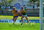Megan O'Connor, Kerry in action against Ellie O'Gorman, Clare in the Lidl Ladies National Football League Division 2A Round 2 at Austin Stack Park, Tralee on Sunday.