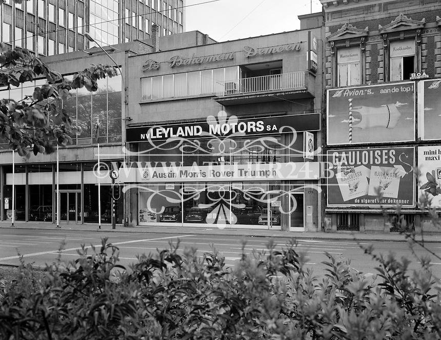 April 1975. Leyland Motors garage in Antwerpen.
