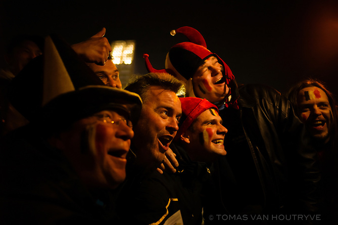 Belgian football fans prepare for a World Cup qualifying match in Brussels, Belgium on March 26, 2013.
