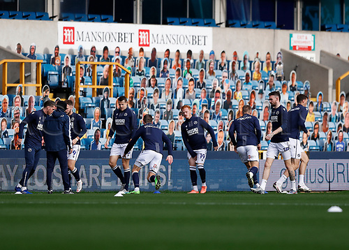 31st October 2020; The Den, Bermondsey, London, England; English Championship Football, Millwall Football Club versus Huddersfield Town; Millwall players during pre match